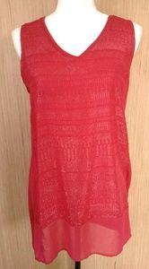 Apt.9 Tango Red Sparkle SleeveLess top sz M